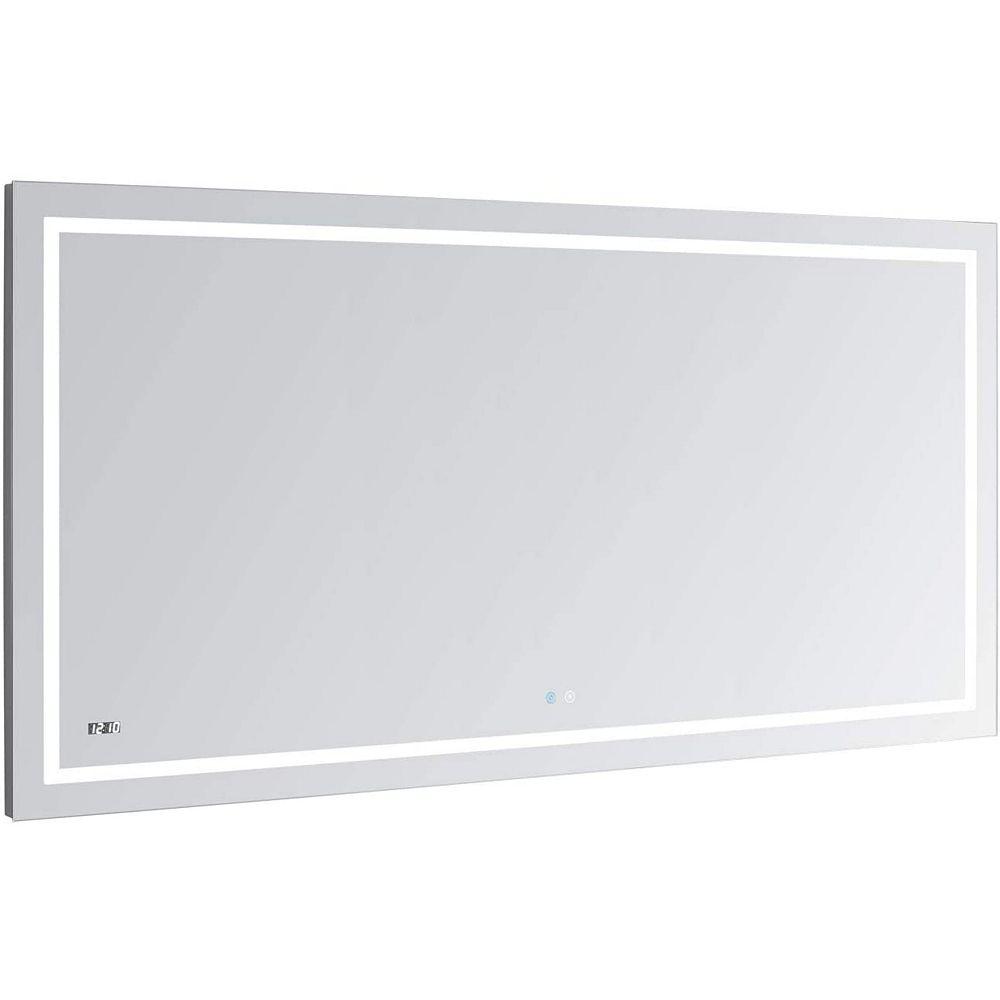 Aquadom Daytona 48 inch W x 30 inch H Frameless Bathroom Mirror with LED Lighting and Mirror Defogger