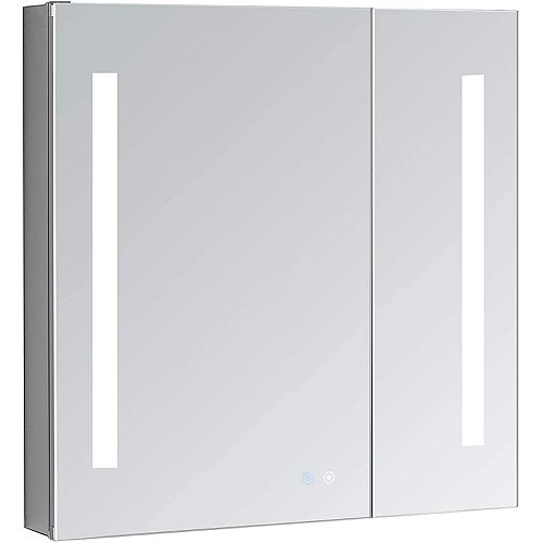 Aquadom Signature Royale 30 inch W x 40 inch H Recessed or Surface Mount LED Medicine Cabinet, Bi-View Doors