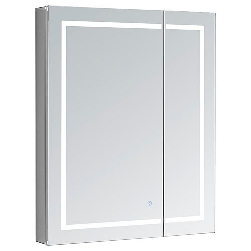 Aquadom Royale Plus 36 in. W x 30 in. H Recessed or Surface Mount LED Medicine Cabinet with Bi-View Door