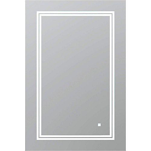 SOHO 24 po L x 30 po H Miroir de salle de bain sans cadre avec éclairage LED et miroir antibuée