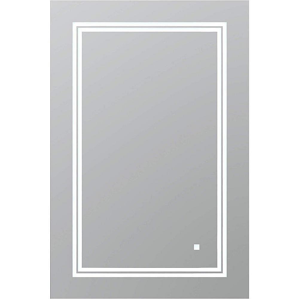 SOHO 19 po L x 19 po H Miroir de salle de bain sans cadre avec éclairage  LED et miroir antibuée
