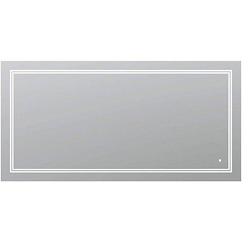 SOHO 60 po L x 30 po H Miroir de salle de bain sans cadre avec éclairage LED et miroir antibuée