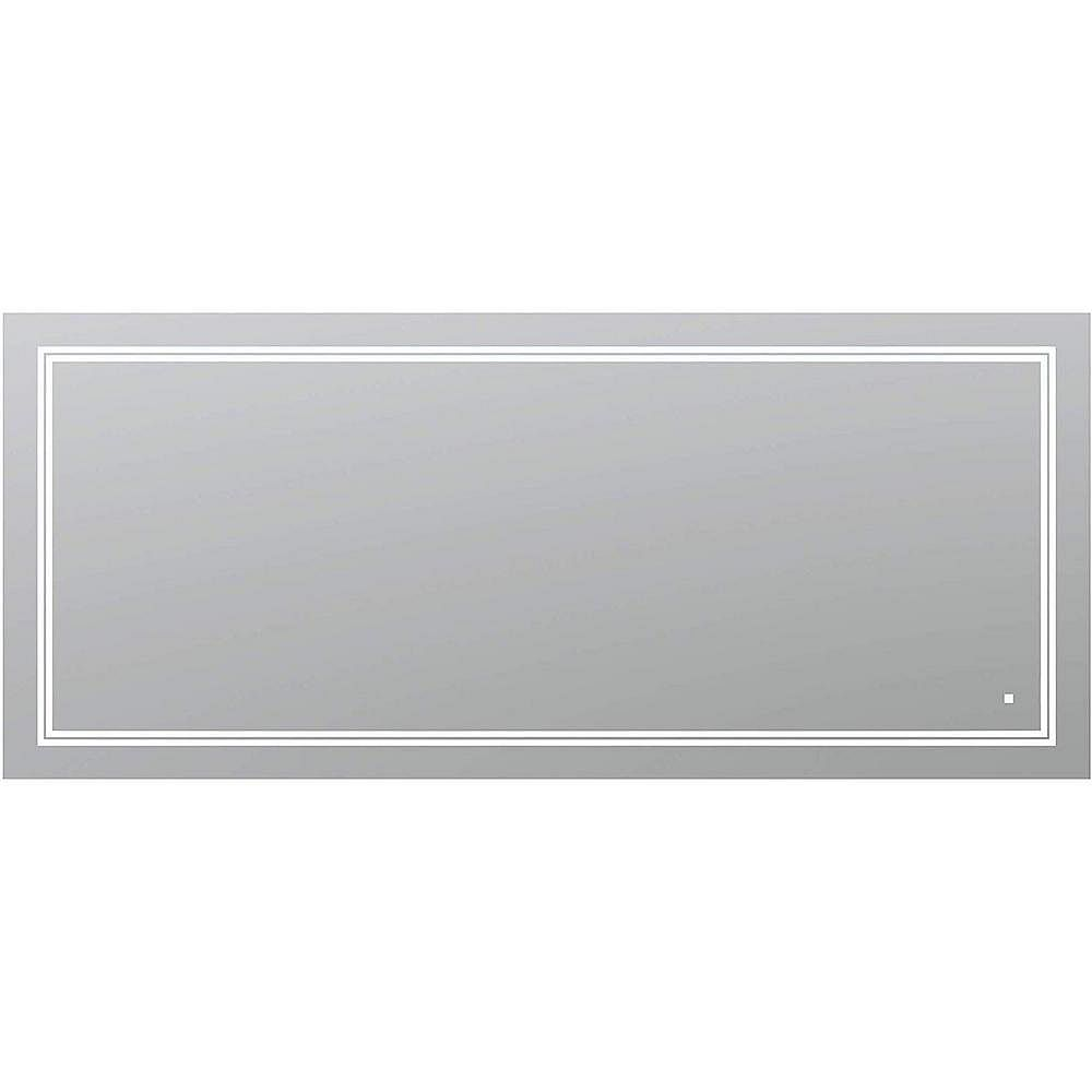 Aquadom SOHO 72 in. W x 36 in. H Frameless Bathroom Mirror with LED Lighting and Mirror Defogger