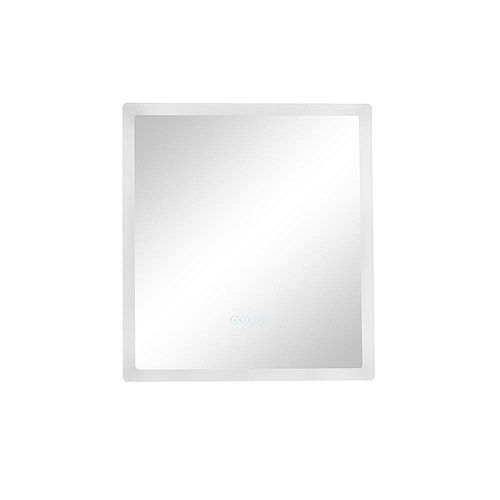 Smart LED 24 in. W x 27 in. H Frameless LED Single Bathroom Mirror with Bluetooth Speakers, Fog Free
