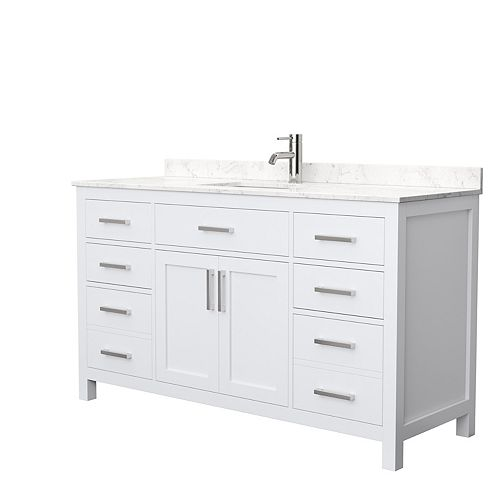 Beckett 60 Inch Single Vanity in White, Carrara Cultured Marble Top, Square Sink, No Mirror