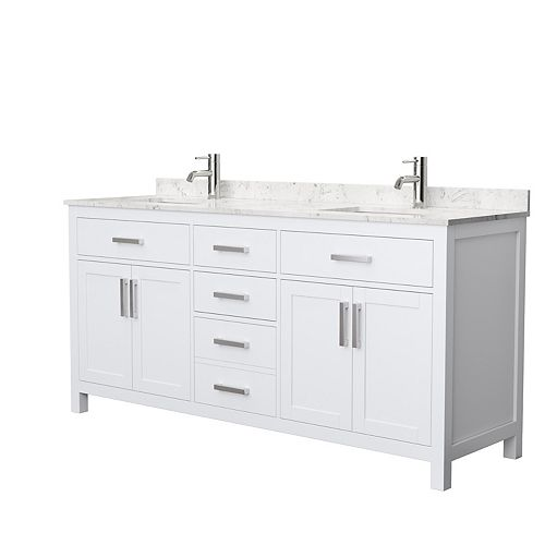 Beckett 72 Inch Double Vanity in White, Carrara Cultured Marble Top, Square Sinks, No Mirror