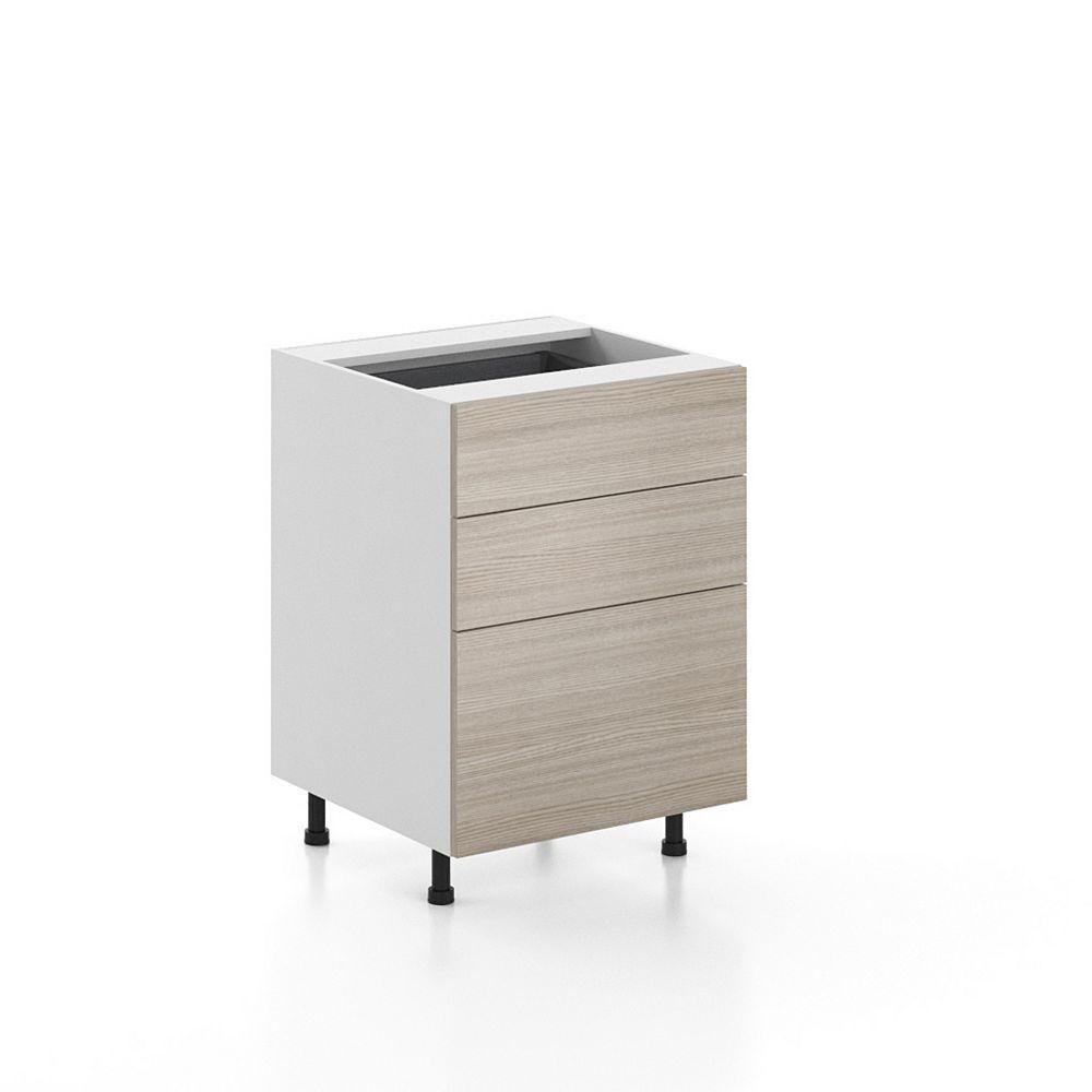 Eurostyle Base Cabinet 3 Drawers Geneva 24 inch