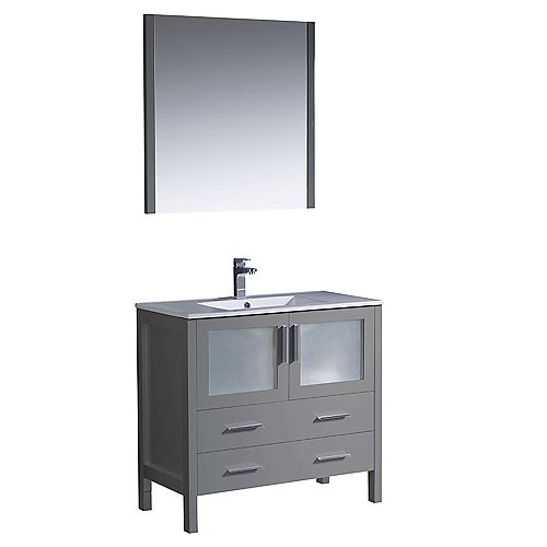Fresca Torino 36 inch Bath Vanity in Gray with Ceramic Vanity Top in White with White Basin and Mirror