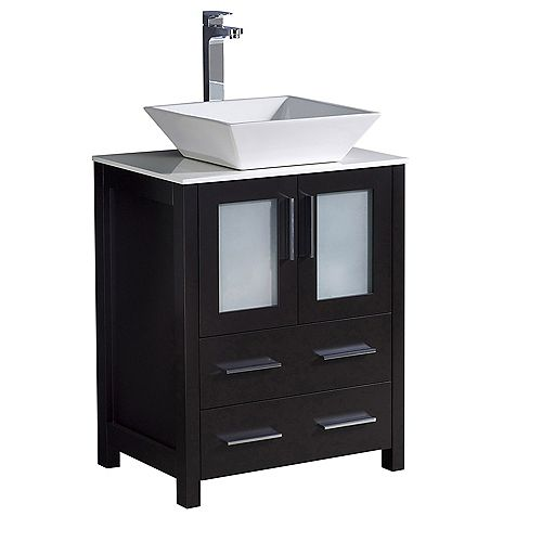 Fresca Torino 24 inch Bath Vanity in Espresso with Glass Stone Vanity Top in White with White Vessel Sink
