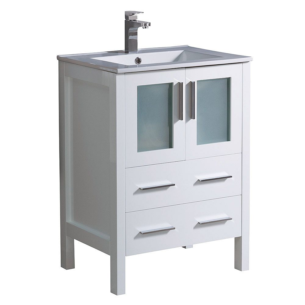 Fresca Torino 24 inch Bath Vanity in White with Ceramic Vanity Top in White with White Basin