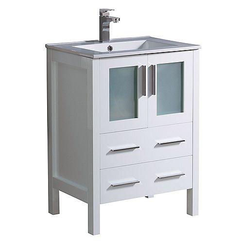Fresca Torino 24 inch Bath Vanity in White with Ceramic Vanity Top in White with White Basin