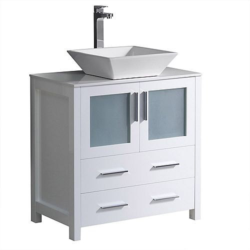 Fresca Torino 30 inch Bath Vanity in White with Glass Stone Vanity Top in White with White Vessel Sink