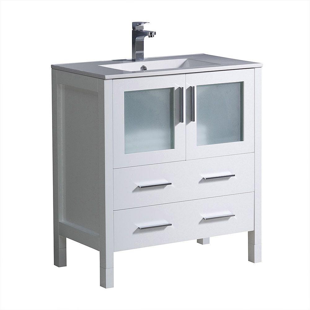 Fresca Torino 30 inch Bath Vanity in White with Ceramic Vanity Top in White with White Basin