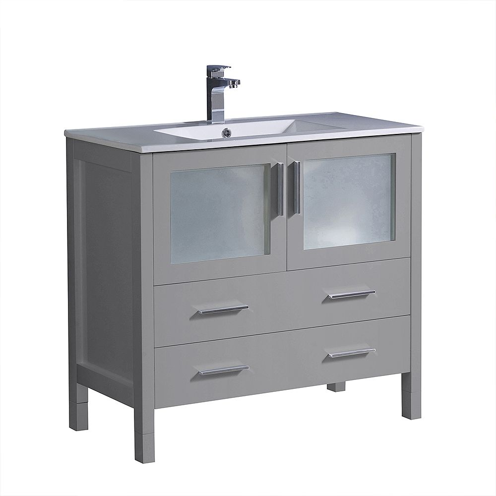 Fresca Torino 36 inch Bath Vanity in Gray with Ceramic Vanity Top in White with White Basin