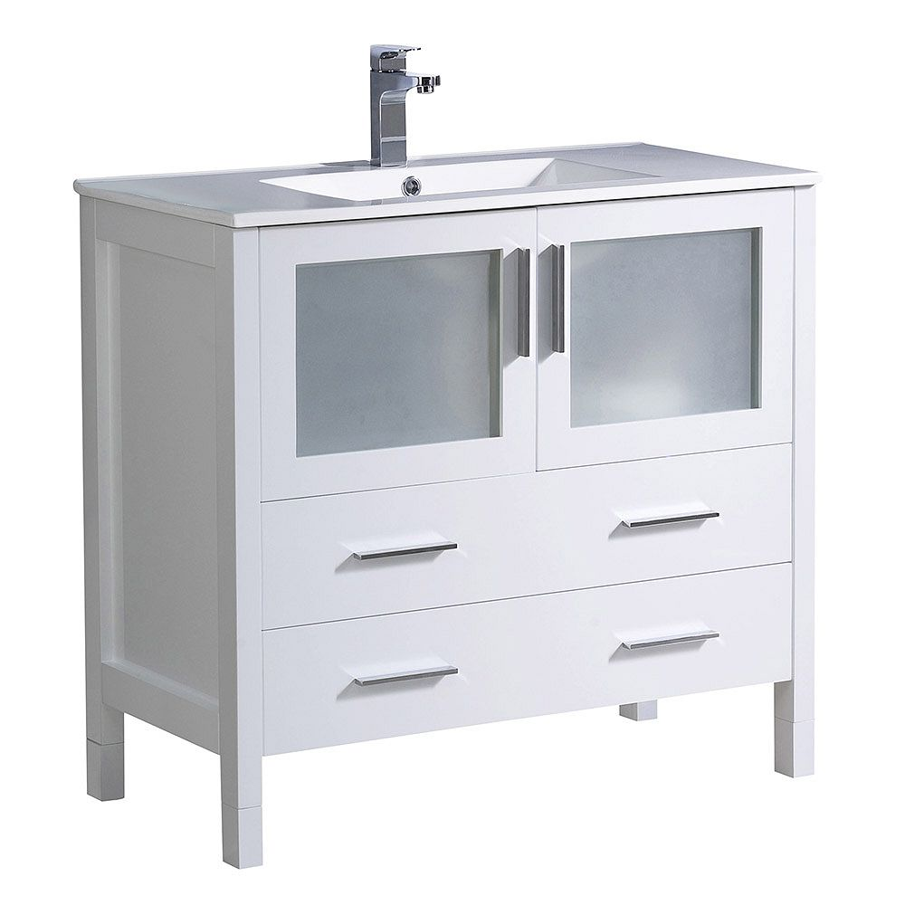 Fresca Torino 36 inch Bath Vanity in White with Ceramic Vanity Top in White with White Basin