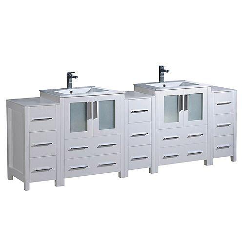 Fresca Torino 84 inch Double Bath Vanity in White with Ceramic Vanity Tops in White with White Basins