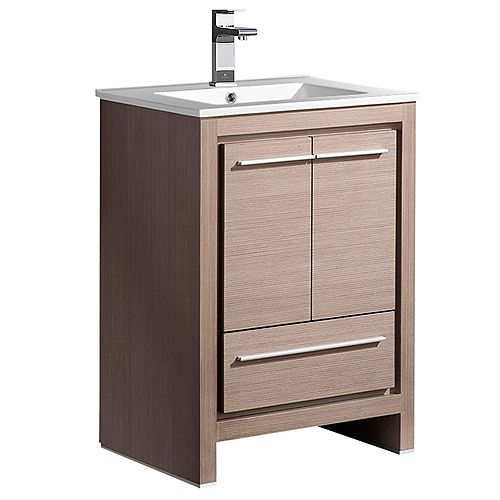 Fresca Allier 24 inch Vanity in Gray Oak with Ceramic Vanity Top in White with White Basin