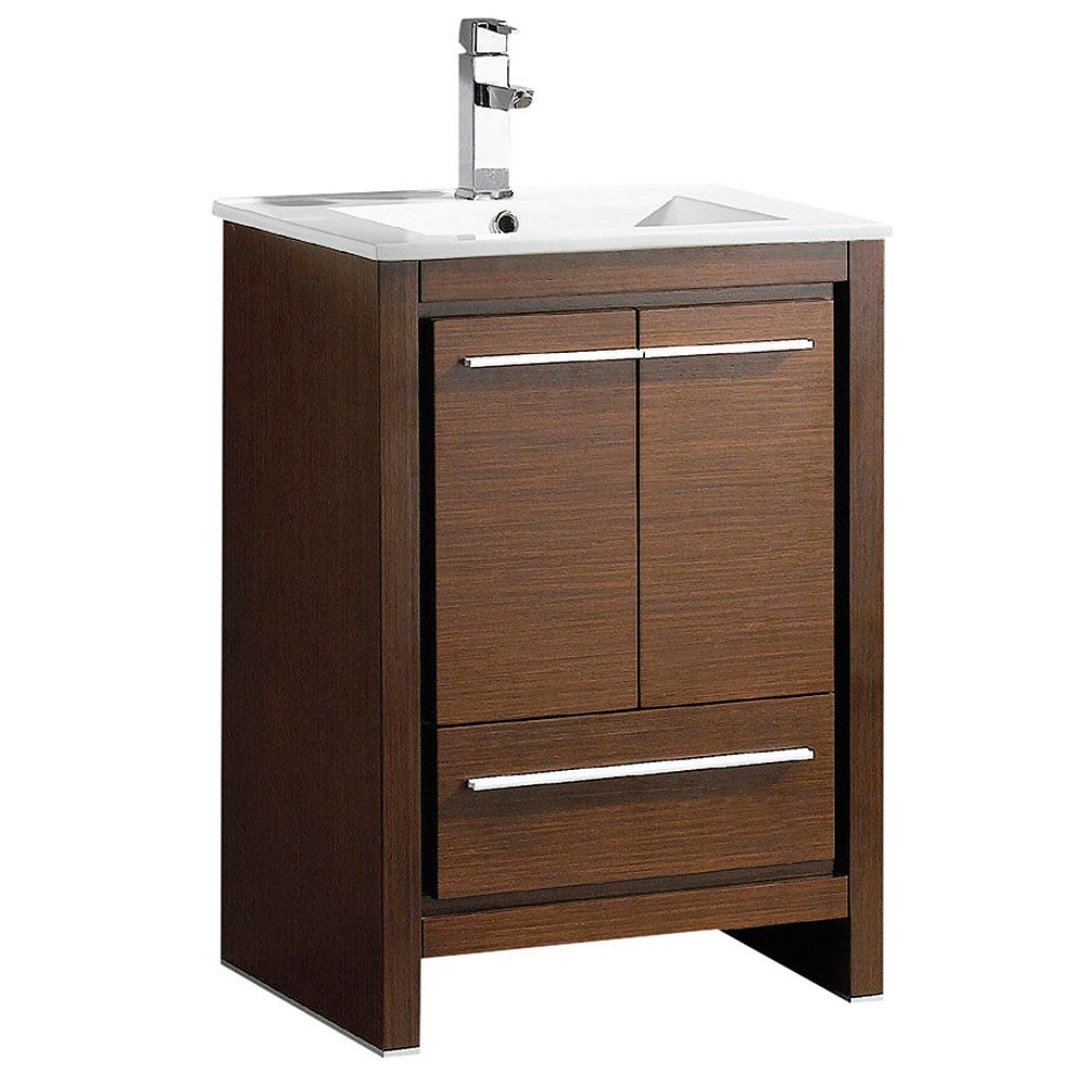 Fresca Allier 24 inch Vanity in Wenge Brown with Ceramic Vanity Top in White with White Basin