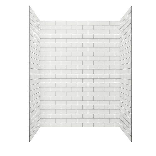 Paroi de douche en alcôve Passage quatre pièces collées de 60 x 72 po en carreau blanc