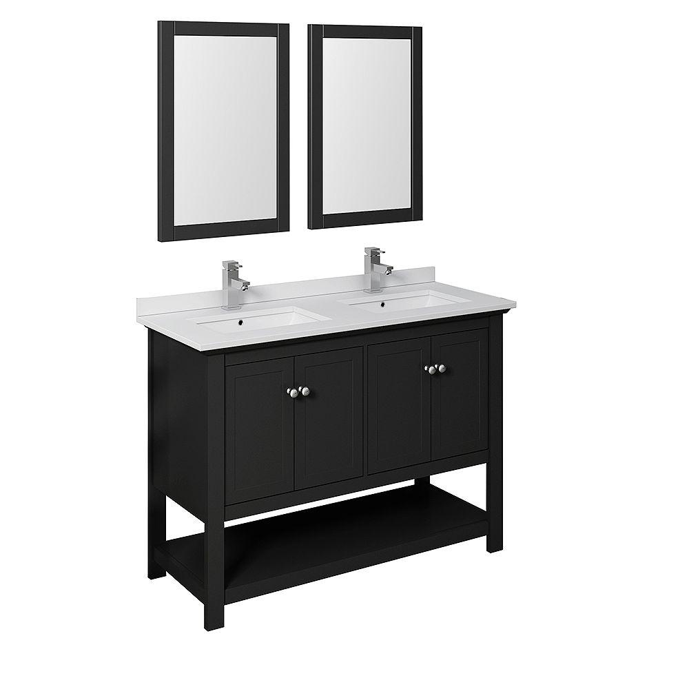 Fresca Manchester 48 Inch Black, 48 Bathroom Vanity Double Sink