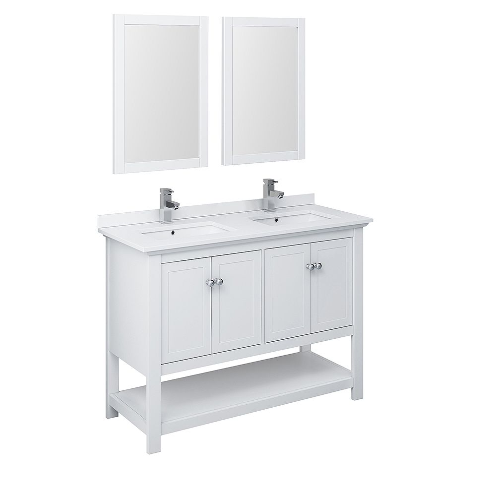 Contemporary Office Interior Design, Fresca Manchester 48 Inch White Traditional Double Sink Bathroom Vanity With Mirrors The Home Depot Canada