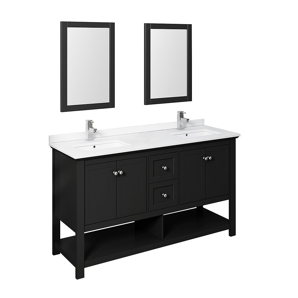 Fresca Manchester 60 Inch Black Traditional Double Sink Bathroom Vanity With Mirrors The Home Depot Canada