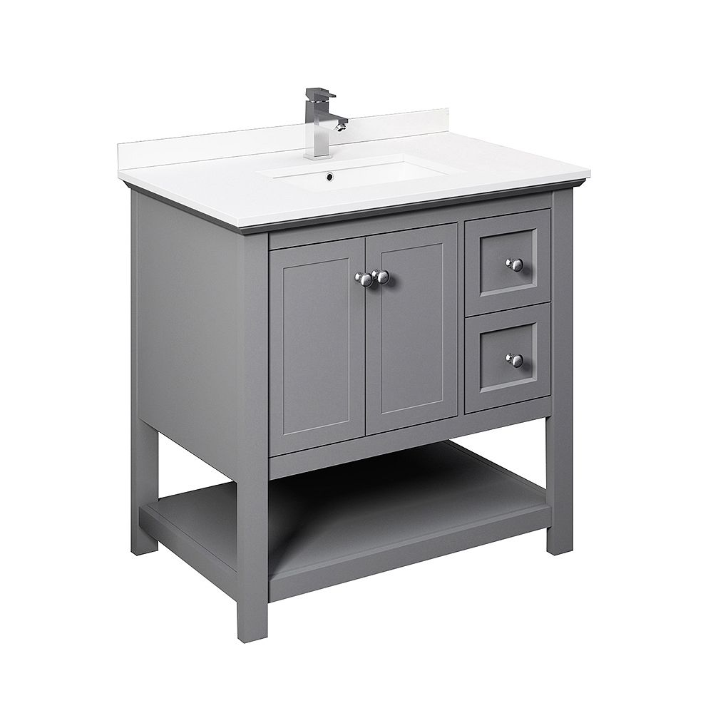 Fresca Manchester 36 inch Gray Traditional Bathroom Cabinet with Top & Sink
