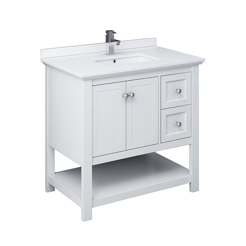 Fresca Manchester 36 inch White Traditional Bathroom Cabinet with Top & Sink