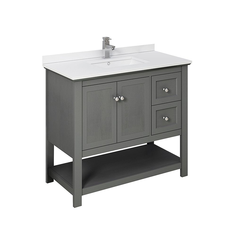 Fresca Manchester Regal 42 inch Gray Wood Veneer Traditional Bathroom Cabinet with Top & Sink
