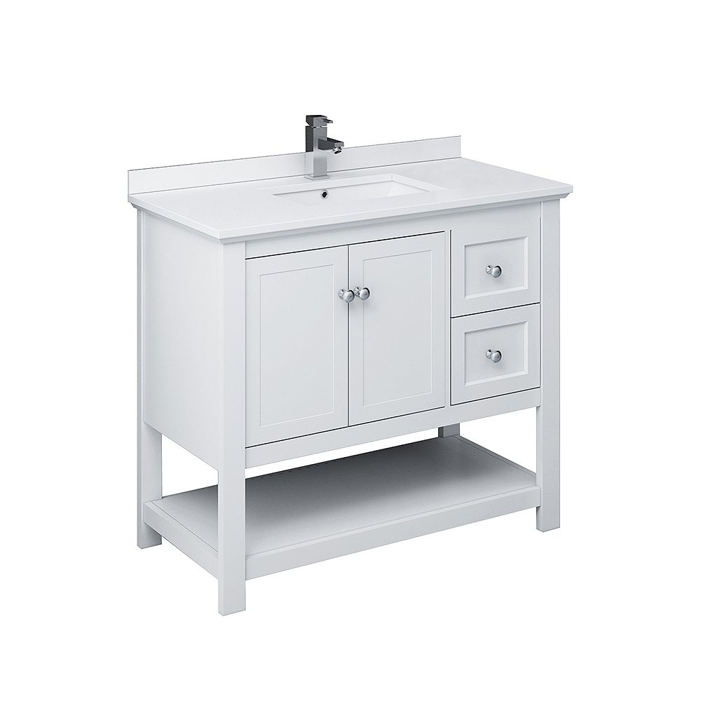 Fresca Manchester 42 inch White Traditional Bathroom ...