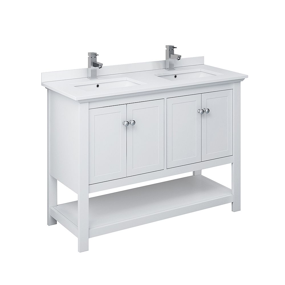Fresca Manchester 48 inch White Traditional Double Sink Bathroom Cabinet with Top & Sinks