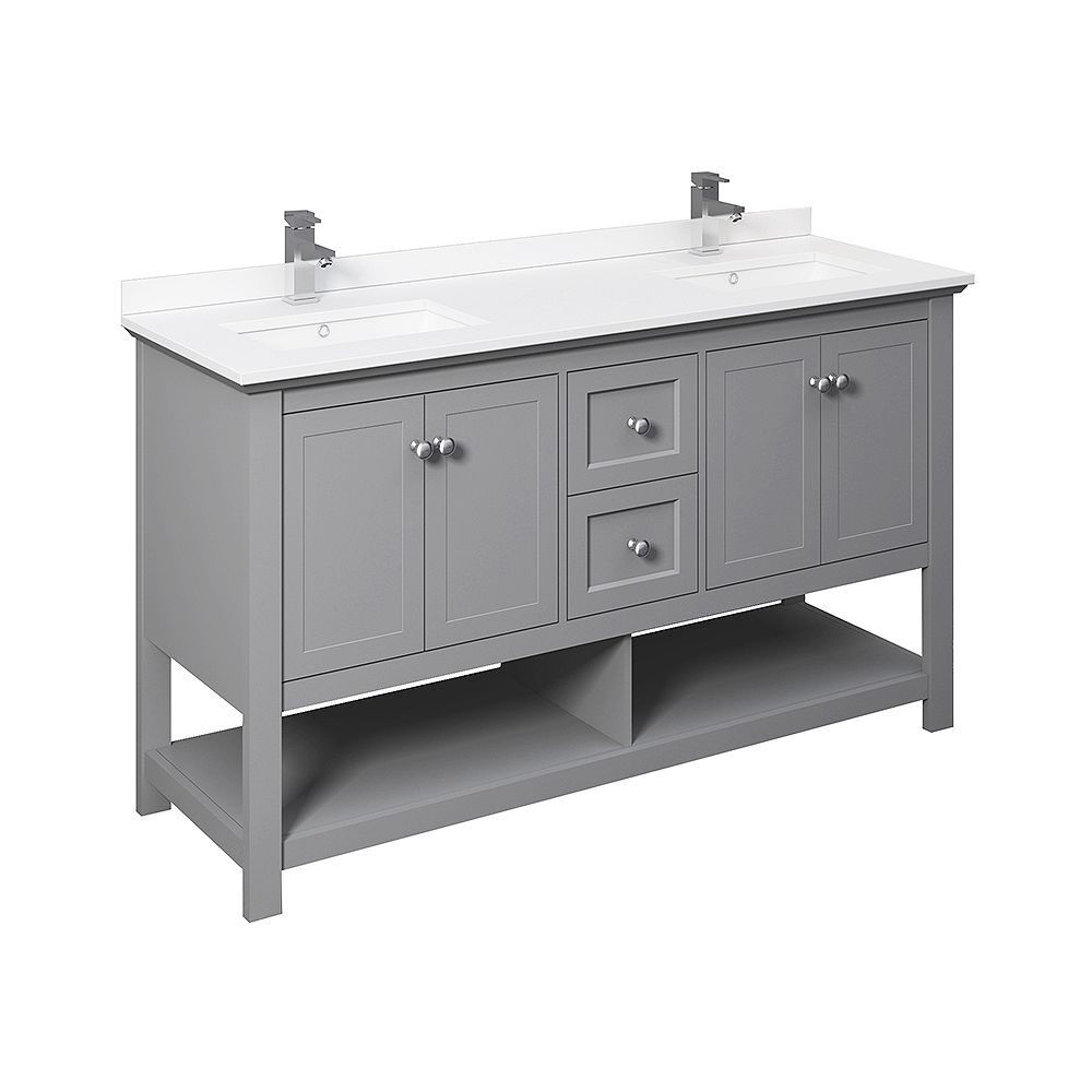 Fresca Manchester 60 inch Gray Traditional Double Sink Bathroom Cabinet with Top & Sinks