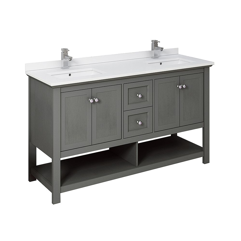 Fresca Manchester Regal 60 inch Gray Wood Veneer Traditional Double Sink Bathroom Cabinet with Top & Sinks