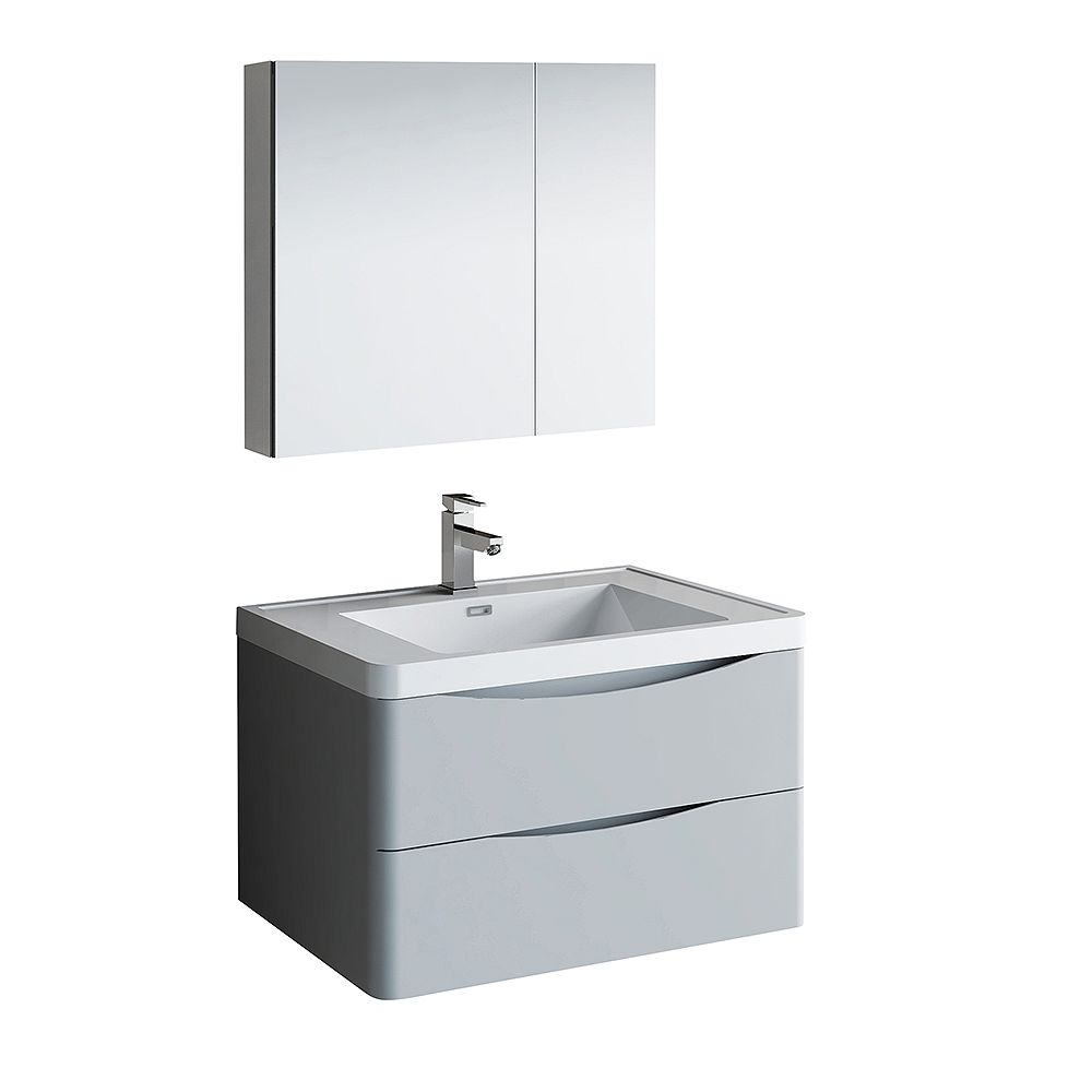 Fresca Tuscany 32 inch Glossy Gray Wall Hung Modern Bathroom Vanity with Acrylic Top and Medicine Cabinet