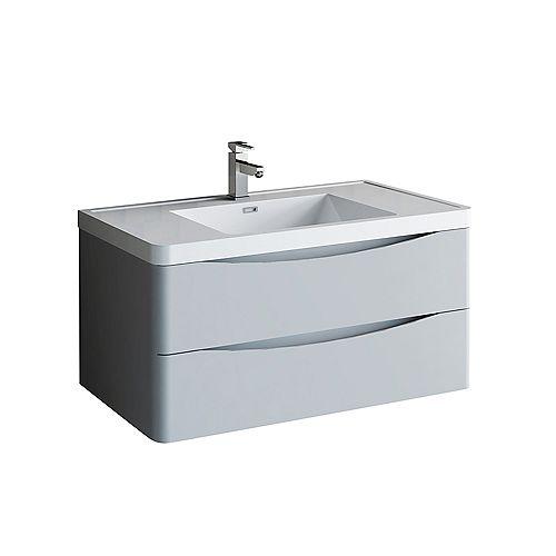 Fresca Tuscany Meuble-lavabo mural de salle de bains moderne gris lustré 40 po avec dessus en acrylique