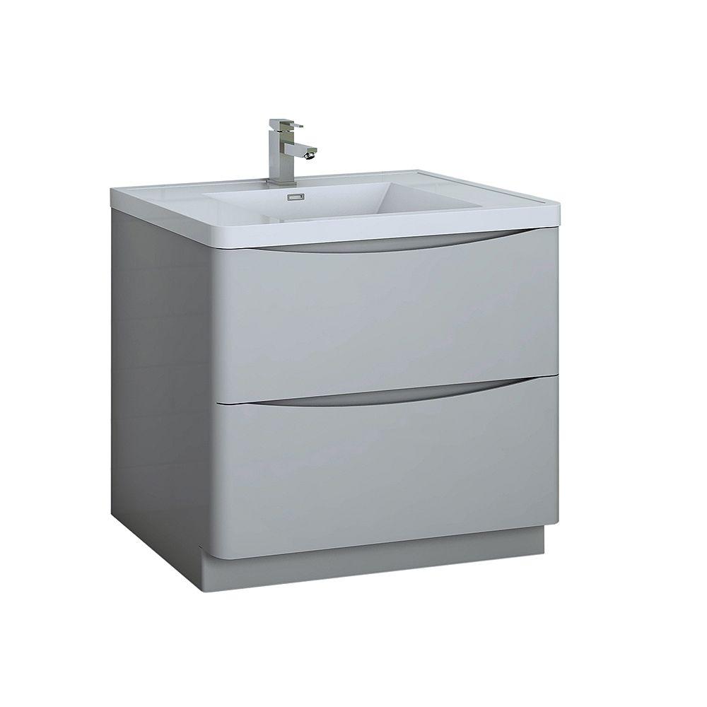 Fresca Tuscany 36 inch Glossy Gray Free Standing Modern Bathroom Vanity with Acrylic Top