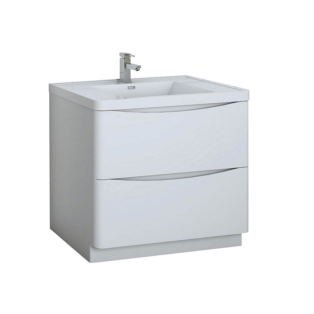 Fresca Tuscany 36 inch Glossy White Free Standing Modern Bathroom Vanity with Acrylic Top
