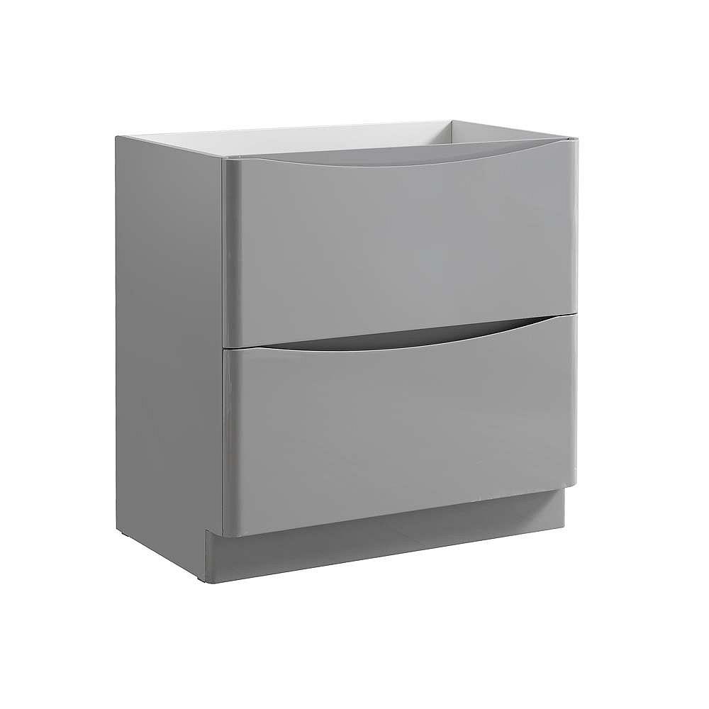 Fresca Tuscany 32 inch Glossy Gray Free Standing Modern Bathroom Vanity