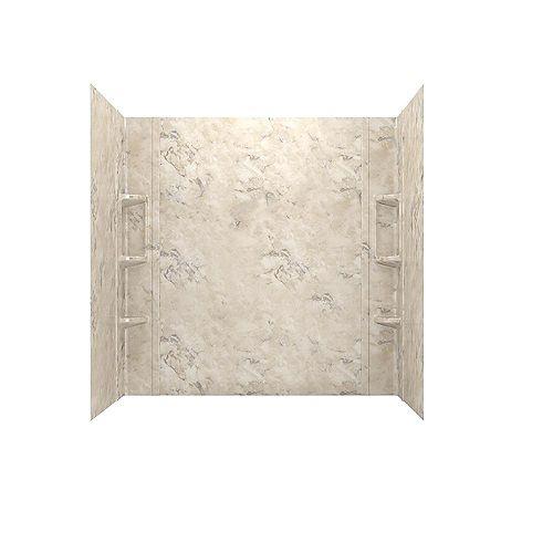 Paroi de baignoire en alcôve Ovation cinq pièces collées de 32 x 60 po en marbre céleste