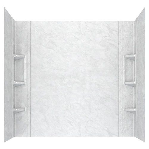 American Standard Ovation 32 in. x 60 in. x 59 in. 5-Piece Glue-Up Alcove Bath Wall Set in White Marble