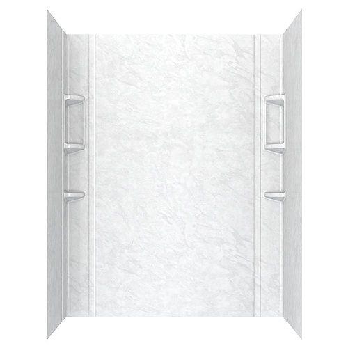 Paroi de baignoire en alcôve Ovation cinq pièces collées de 32 x 72 po en marbre blanc