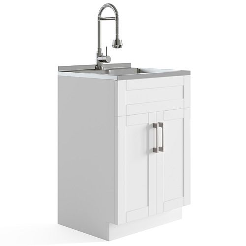 Hennessy Contemporary 24 inch Deluxe Laundry Cabinet with Faucet and Stainless Steel Sink