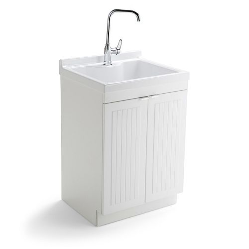 Murphy Traditional 24 inch Laundry Cabinet with Faucet and ABS Sink