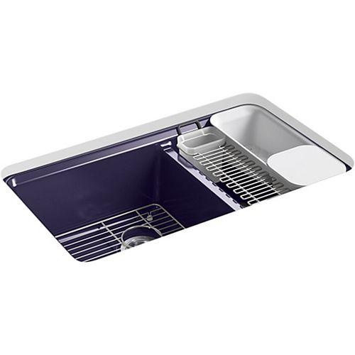 KOHLER Riverby 33 inch X 22 inch X 9-5/8 inch Under-Mount Double-Bowl Kitchen Sink in Indigo Blue