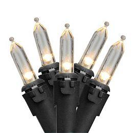 100 White LED Mini Christmas Lights - 33 ft Black Wire