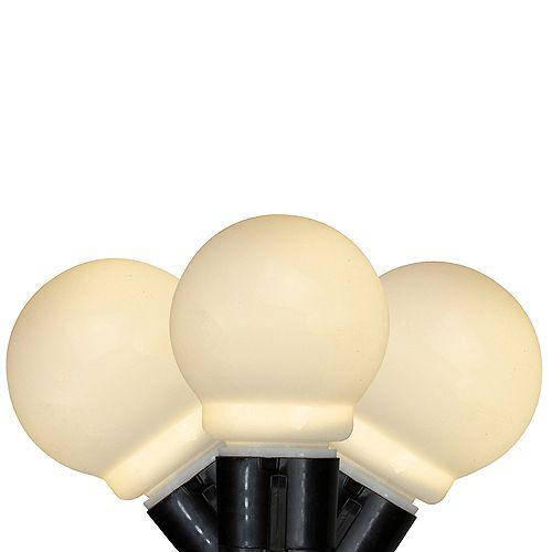 Kurt Adler 10 Warm White Glass LED Christmas Lights - 15 ft Black Wire