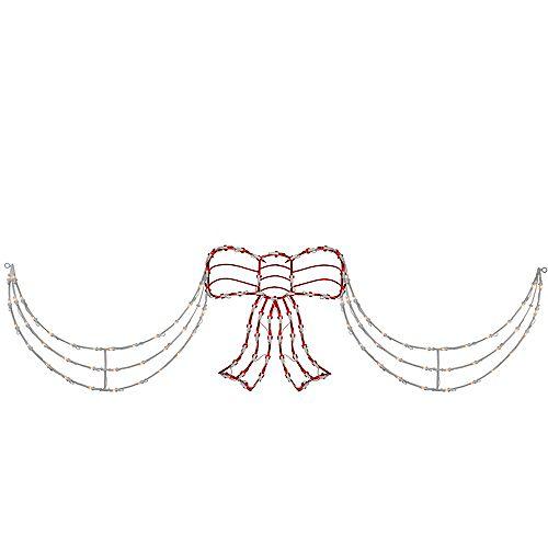 3 pièces Lighted rouge et blanc Bow et Swag Décoration de Noël