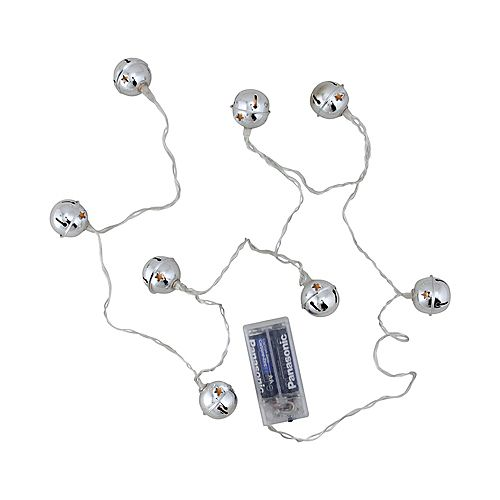 8  Silver Battery Operated LED Jingle Bell Novelty Christmas Lights - Clear Wire
