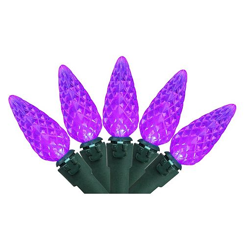 70 Purple LED Faceted C6 Christmas Lights - 23 ft Green Wire