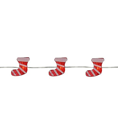 20 Warm White LED Christmas Stocking Fairy Lights - 6 ft Copper Wire